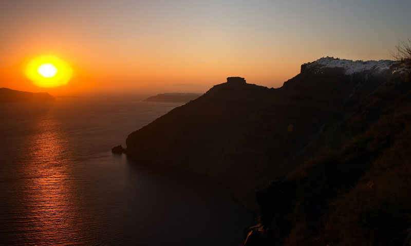 Sunset View from Fira in Santorini Greece